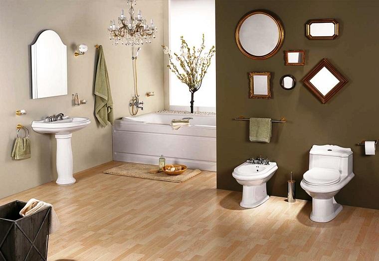 pavimento parquet bagno specchi parete