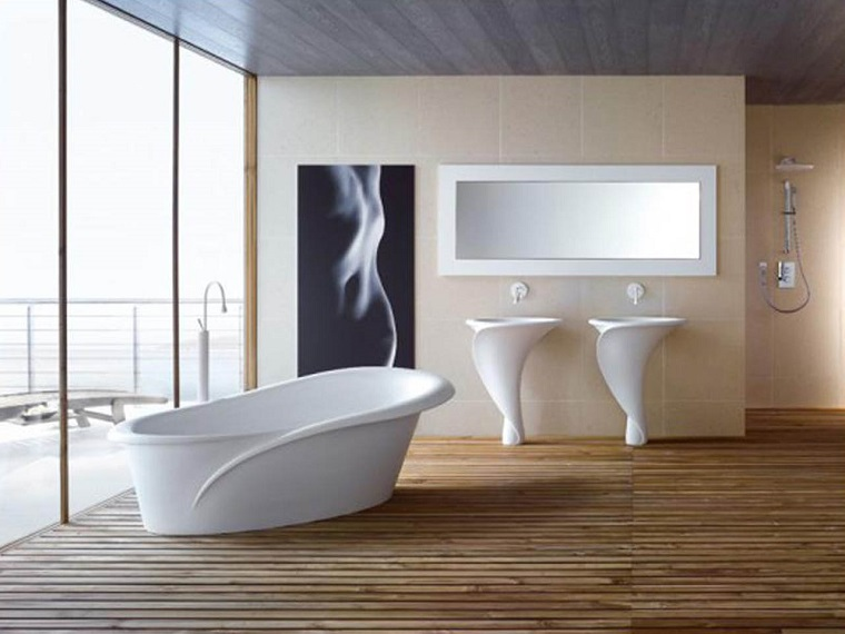 pavimento parquet sanitari bianchi design moderno