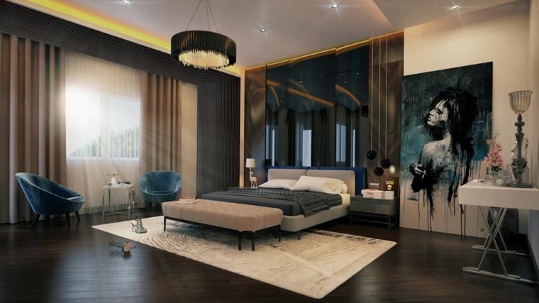 Parete con pannelli in vetro, pavimento in legno parquet, camere da letto moderne bianche