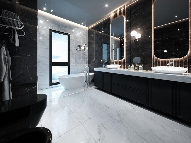 Bagni lussuosi, mobile con doppio lavabo, pavimento in marmo bianco e grigio