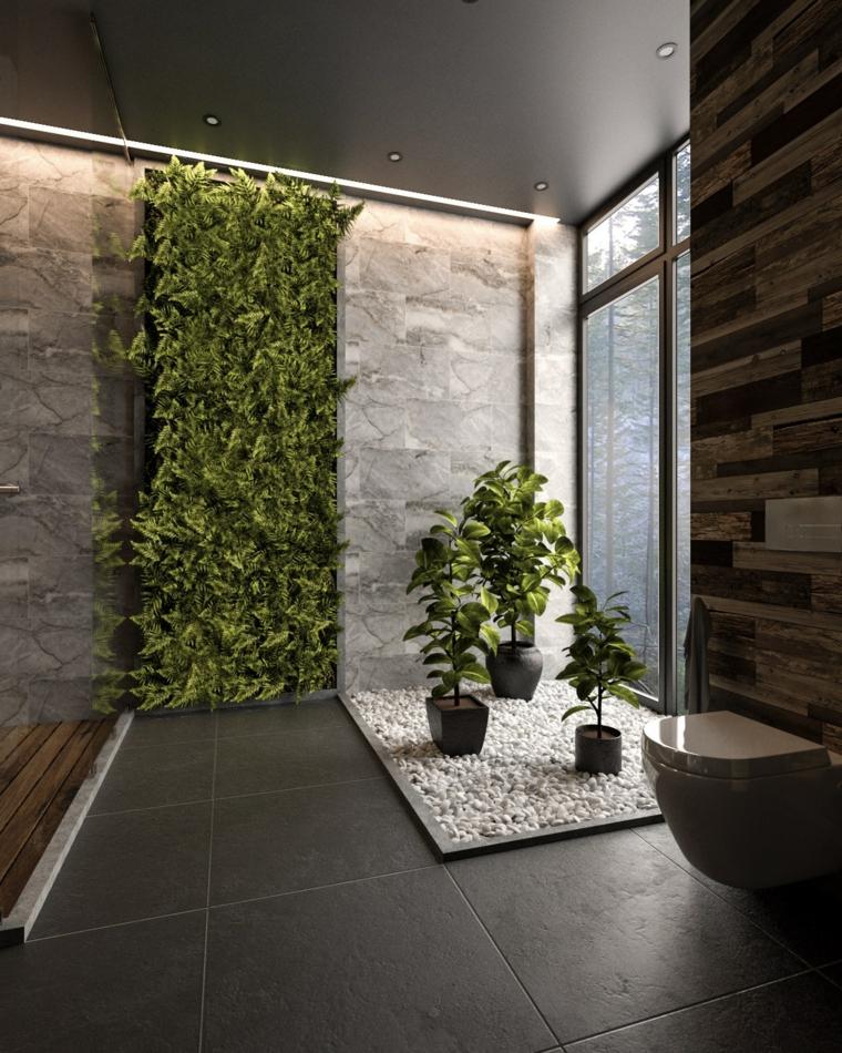Sala da bagno con box doccia, bagno con giardino verticale, piastrelle colore grigio