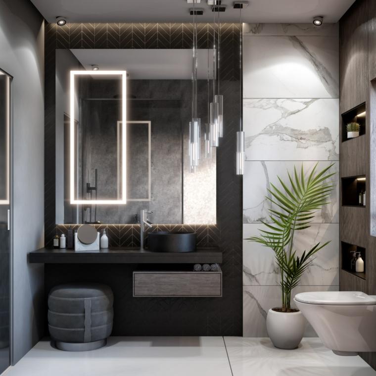 Arredo bagno, mobile colore nero sospeso, specchio con illuminazione
