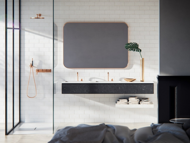 Camera da letto con bagno padronale a vista, mobile lavabo sospeso, mobili bagno moderni economici