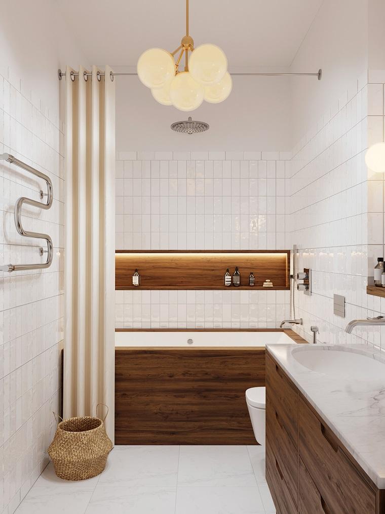 Arredo bagno moderno, mobile di legno con superficie di marmo, sala da bagno con vasca rivestita