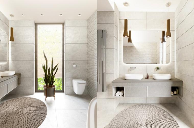 Specchio con retro illuminazione, piastrelle bagno grigie, mobile lavabo da appoggio