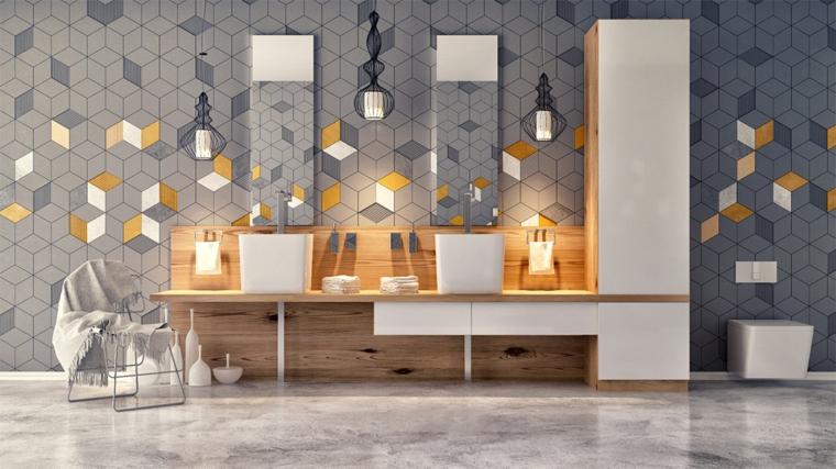 Piastrelle bagno tridimensionali, mobile lavabo in legno, pavimento in marmo grigio