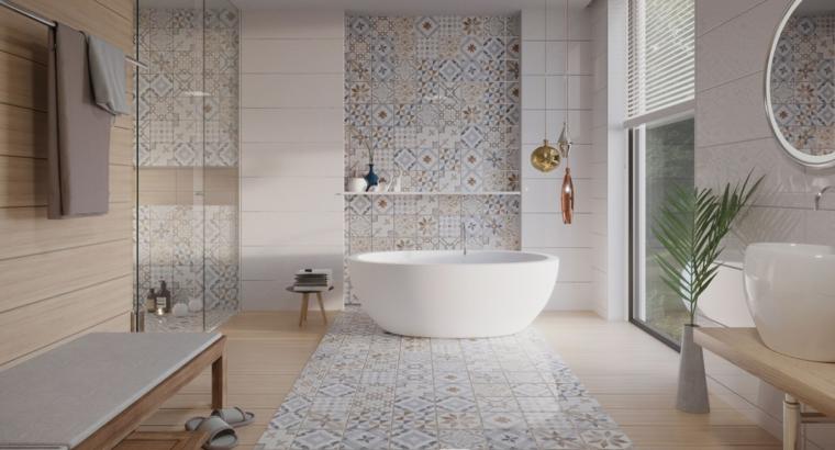 Rivestimenti bagni esempi, piastrelle colorate, vasca da bagno, panchina di legno