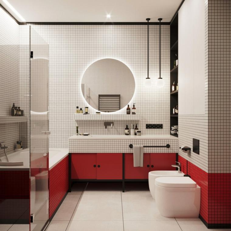 Piastrelle bagno bicolore, specchio rotondo illuminato, mobili bagno moderni economici