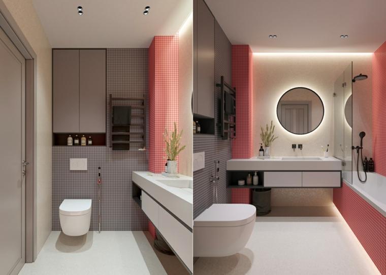 Mobili bagno moderni sospesi, piastrelle bagno rosa, armadietto da parete grigio