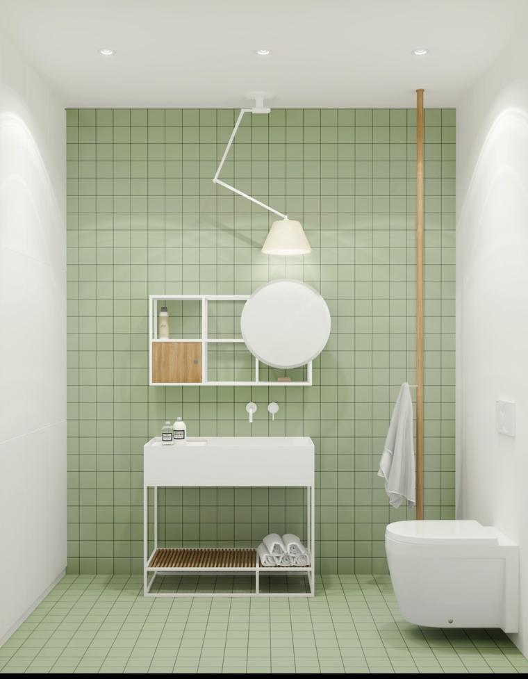 Mobile bagno salvaspazio, piastrelle bagno colore verde, lampada bagno da soffitto