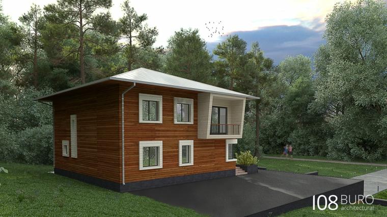 casa legno finestre bianche terrazza sfondo foresta
