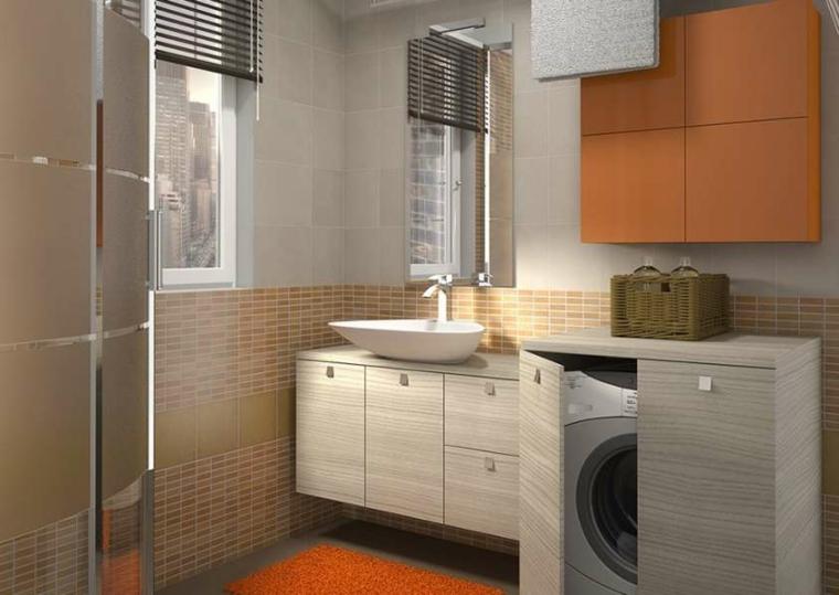 piccolo bagno mobile lavatrice colorato