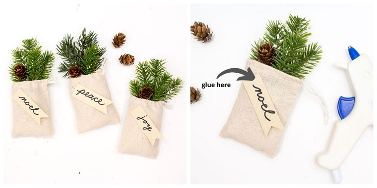 Bigliettino con scritta personalizzata, rametti verdi e mini pigne, addobbi natalizi