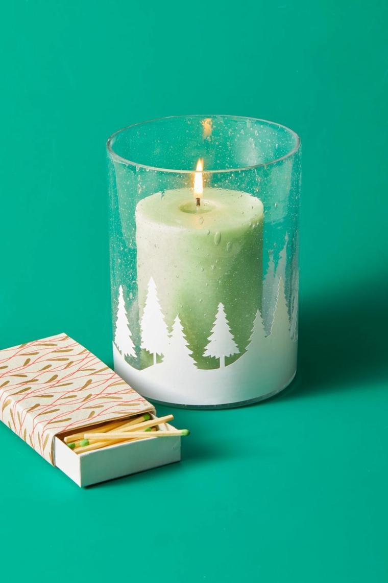 portacandele di vetro con disegno di alberi scatola di fiammiferi regali di natale originali a poco prezzo
