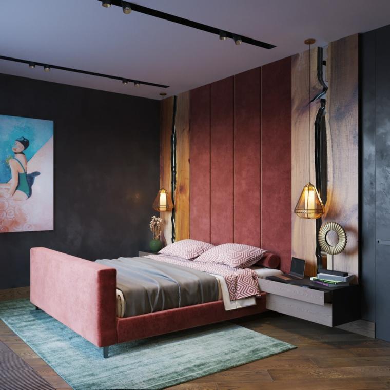 Testata letto in velluto rosso, faretti sul soffitto, camere da letto matrimoniali moderne
