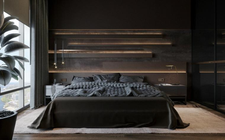 Stanza da letto con mensole illuminate, armadio con porte lucide, arredare camera da letto piccola