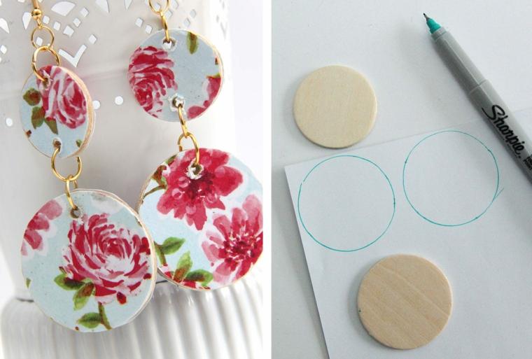 regali di copleanno per lei orecchini di legno dipinti con motivi floreali