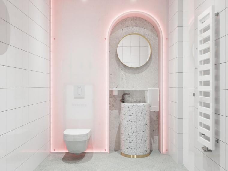 Mobili bagno moderni economici, colonna lavabo in marmo, retro illuminazione luce rosa