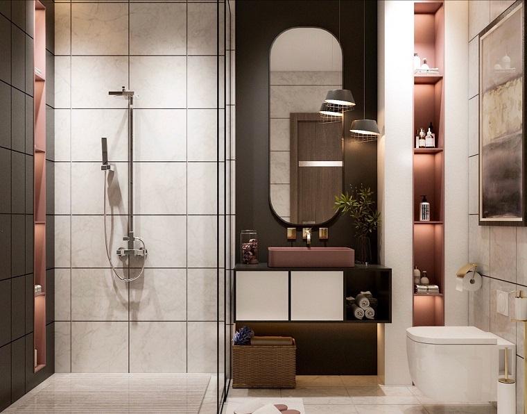 Piastrelle bagni moderni, sala da bagno con box doccia, mobile con lavabo da appoggio