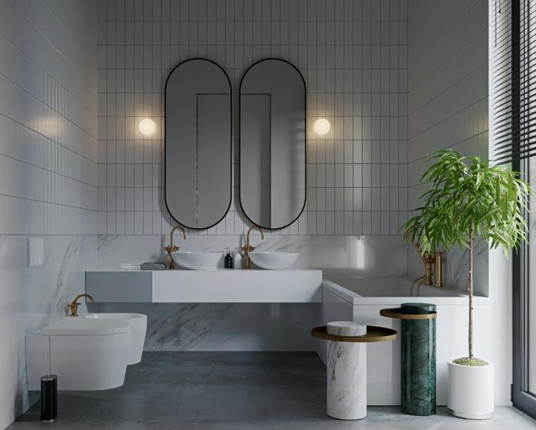 Mobile bagno doppio lavabo, sala da bagno con vasca, sanitari bianchi in sospensione