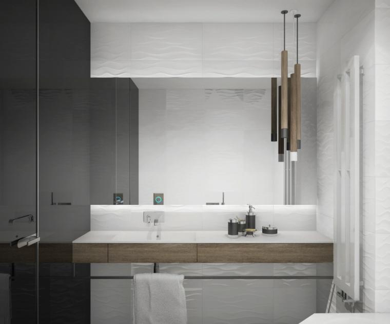 Mobile lavabo incorporato, sala da bagno con box doccia, illuminazione con lampada sospesa