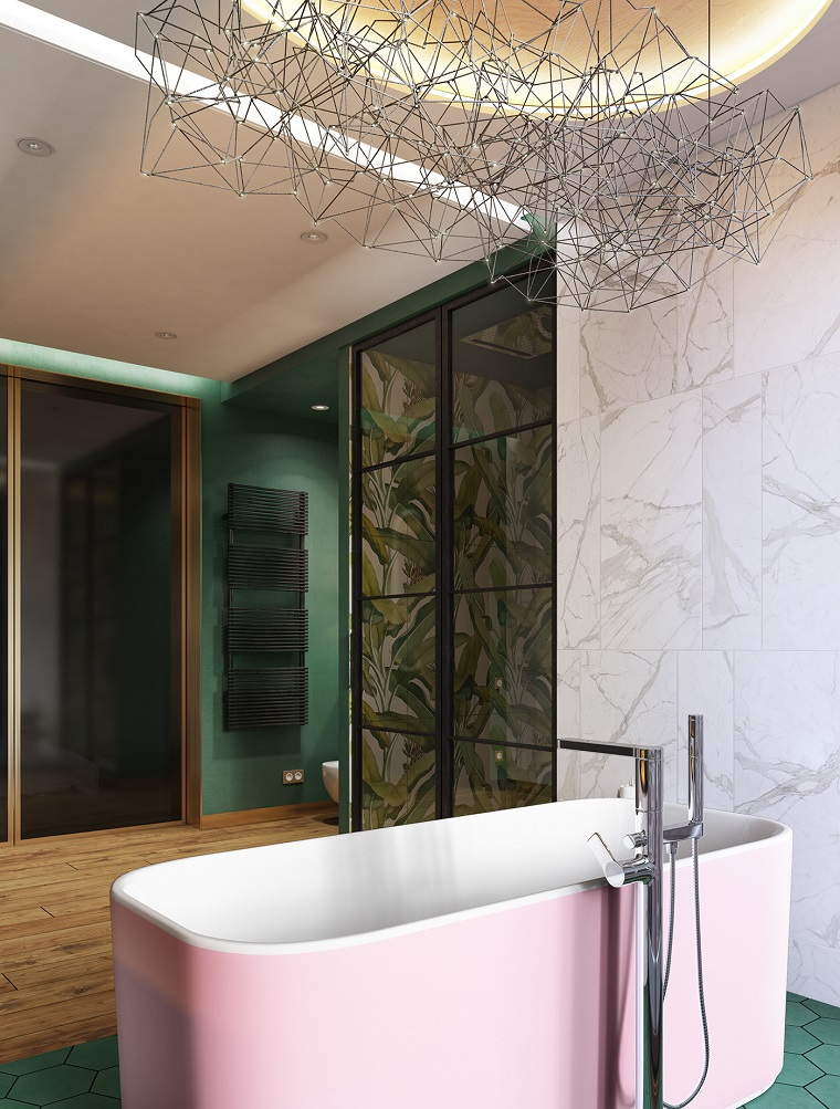 Stanza da bagno con box doccia e vasca, piastrelle bagni moderni, lampadario di metallo