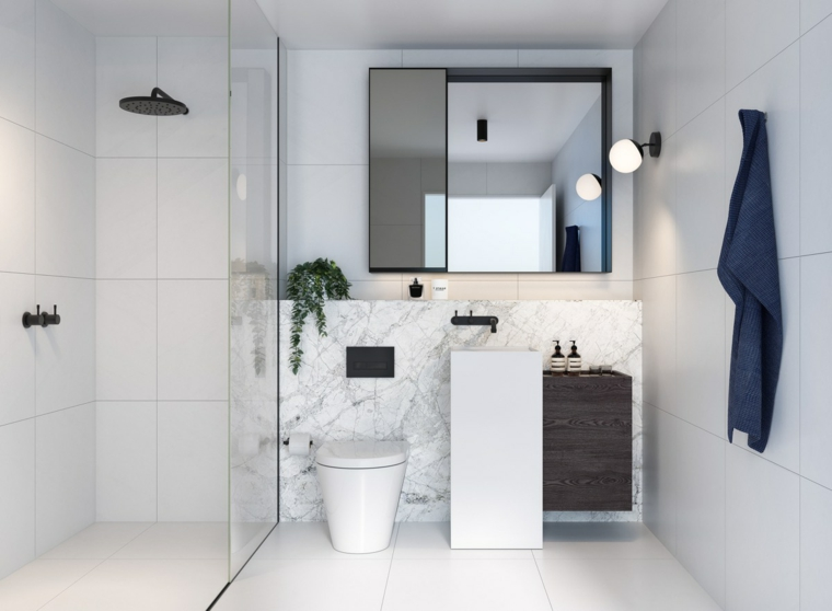 Mobile bagno legno grezzo, colonna lavabo, doccia walk di vetro, rivestimento in marmo