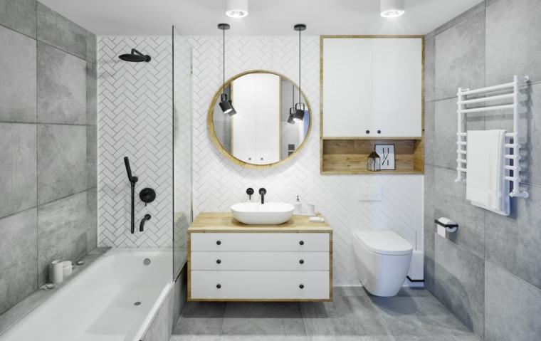 Mobile lavabo da appoggio, sala da bagno con vasca, pareti piastrelle grigie