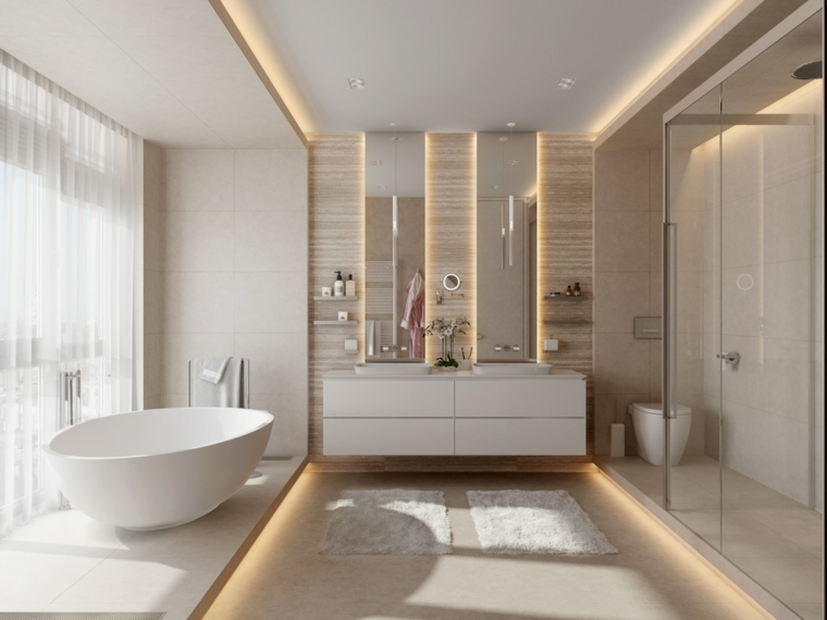 Mobile bagno salvaspazio, parete in bagno di legno, vasca da bagno freestanding
