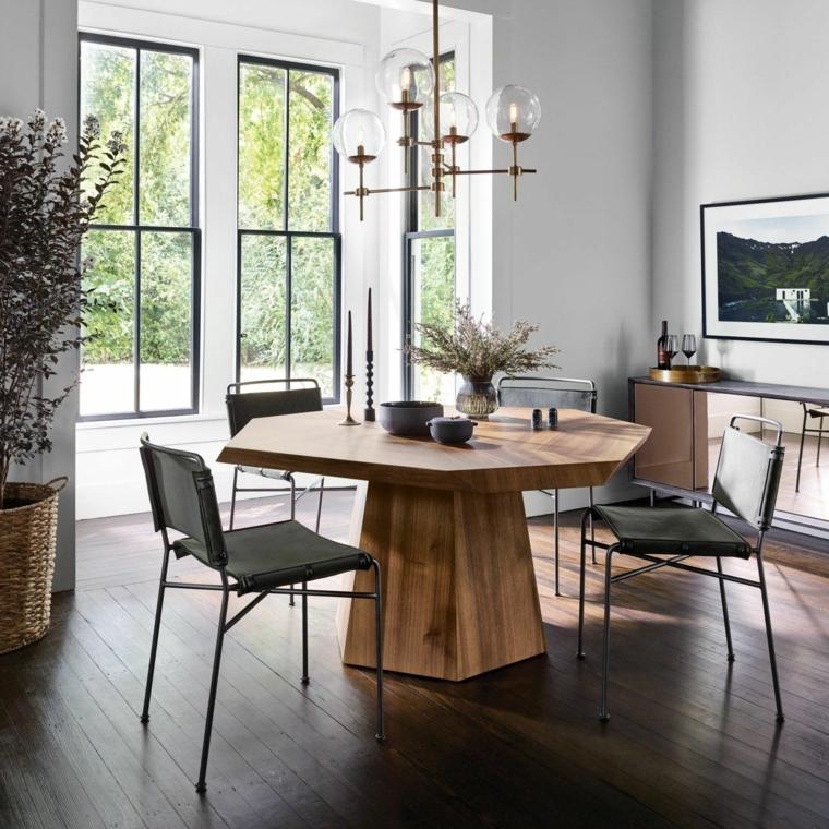sala da pranzo classica contemporanea tavolo da pranzo in legno rovero forma irregolare