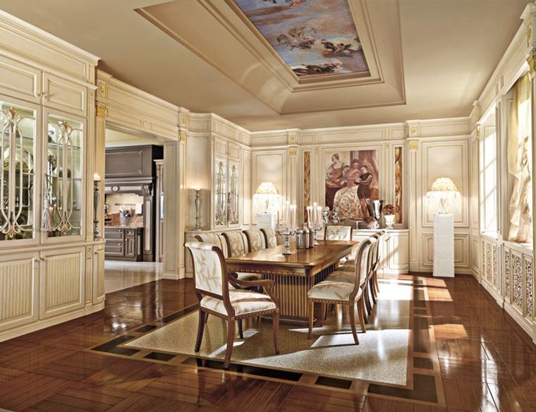 sala da pranzo classica legno chiaro