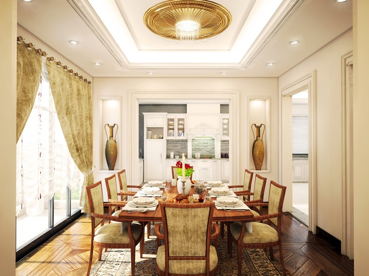 Sala da pranzo classica scelta intramontabile per zona giorno - Tavolo da pranzo grande fratello ...
