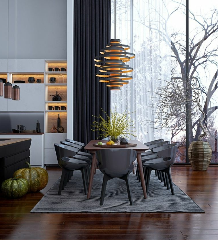 sala da pranzo e salotto insieme tavolo di legno rettangolare con sedie