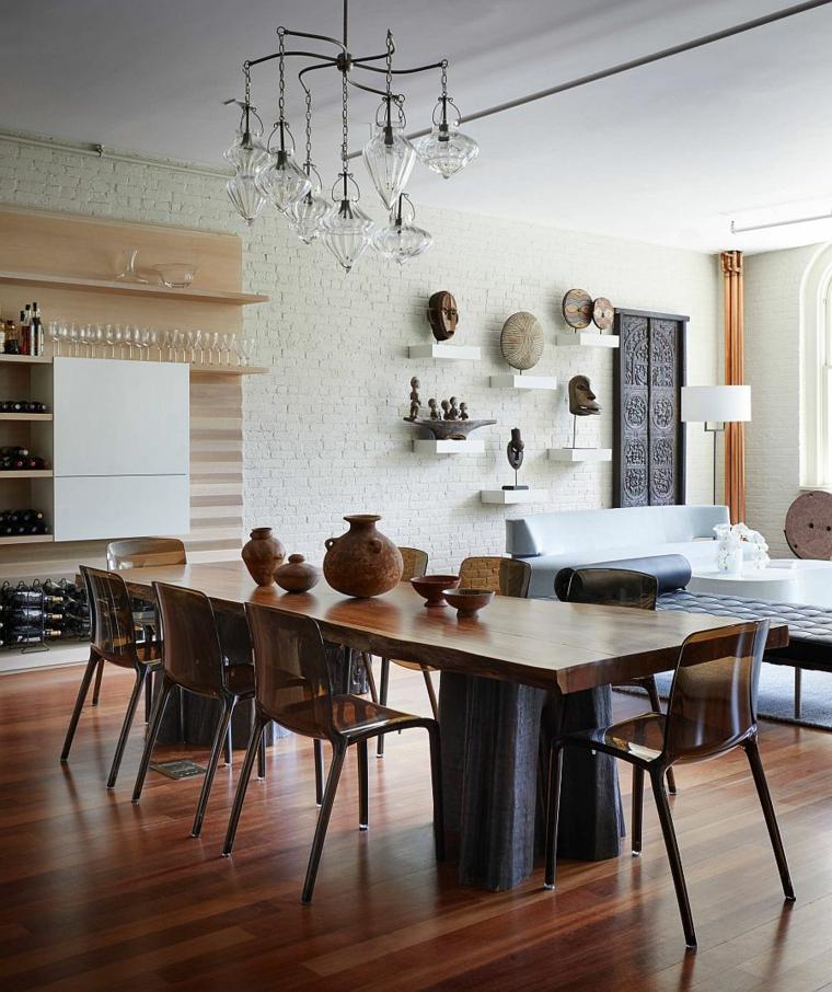 sala da pranzo e salotto insieme tavolo rettangolare di legno con centrotavola