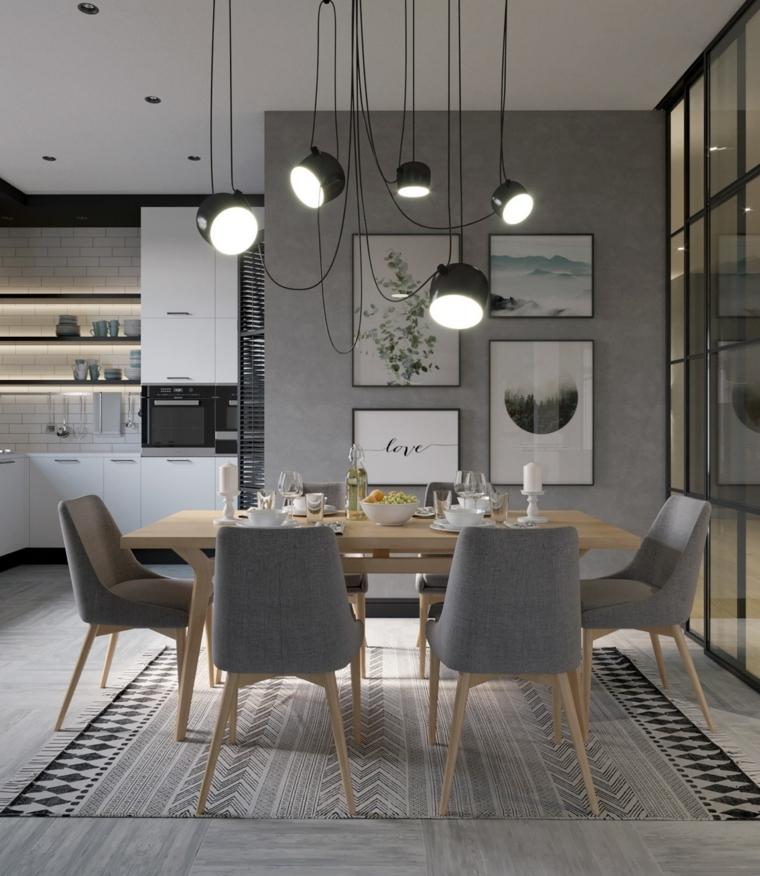 sala da pranzo e salotto insieme tavolo rettangolare di lego con sedie grigie