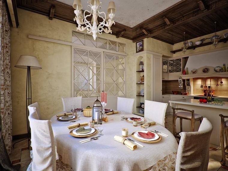 sala da pranzo integrata cucina country
