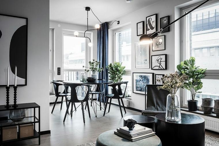 sala piccola come arredarla tavolo da pranzo in legno di colore nero con sedie abbinate
