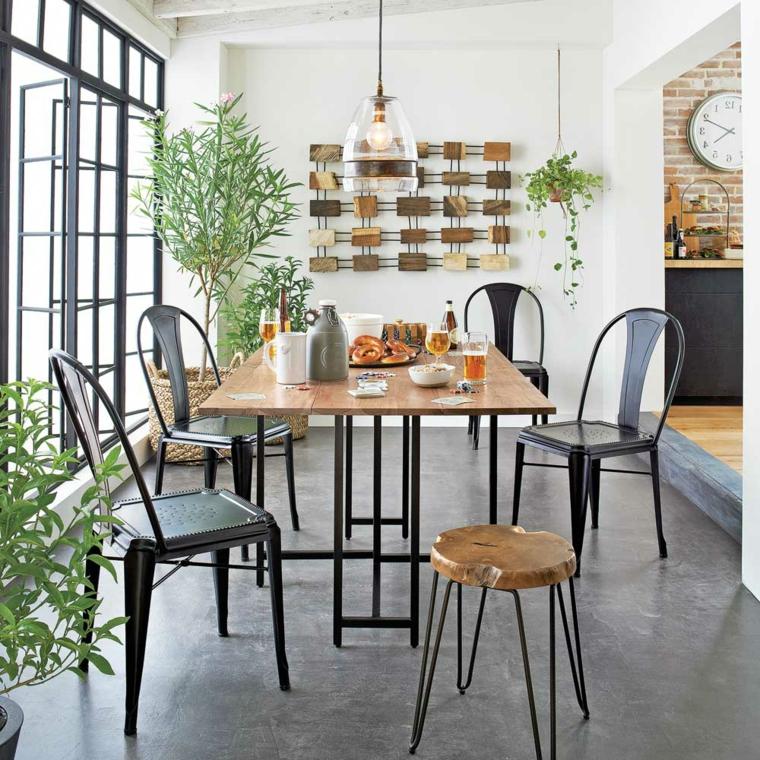 sala piccola come arredarla tavolo da pranzo in legno forma rettangolare