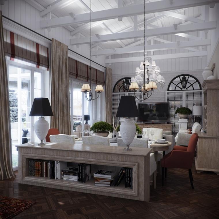 sala pranzo moderna illuminazione soffusa soffitto legno