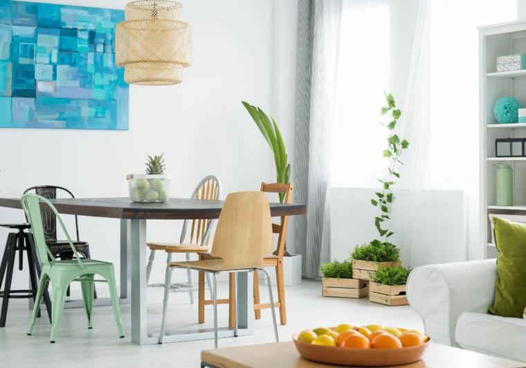 salotto con divano bianco mobili sala da pranzo moderni