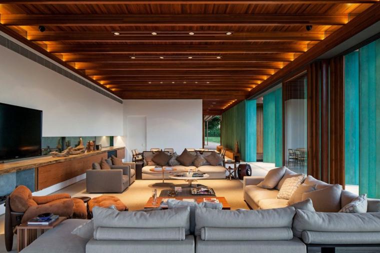 salotto moderno forma rettangolare illuminazione soffusa