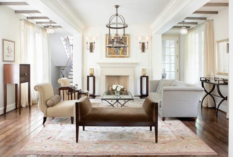 salotto moderno stile classico camino fiori centrotavola