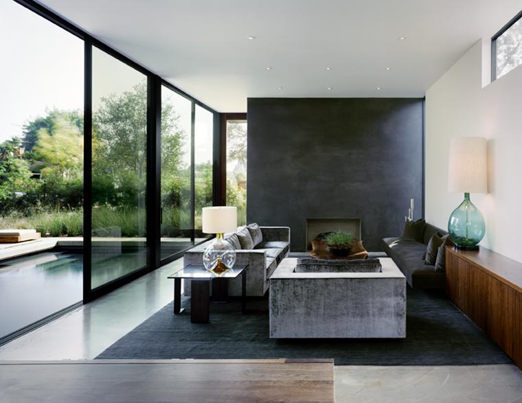 salotto moderno stile industriale elementi cemento