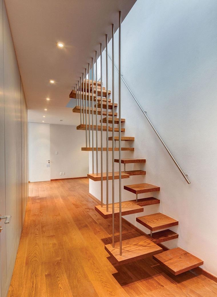 scale interne moderne gradini legno sospesi