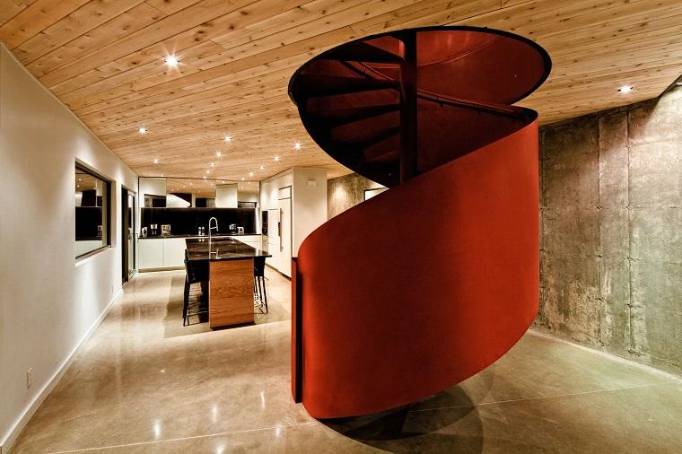 scale moderne esempio colore rosso forma spirale