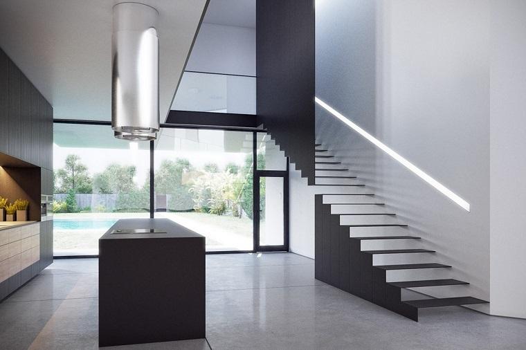 scale moderne per interni alluminio nero