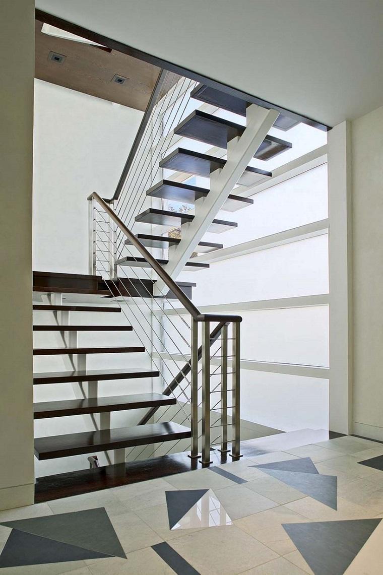 scale moderne per interni legno metallo