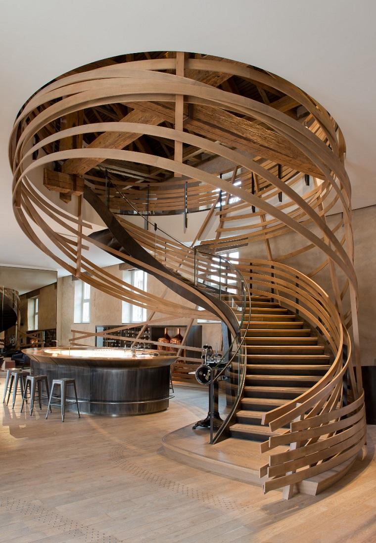 scale moderne per interni legno