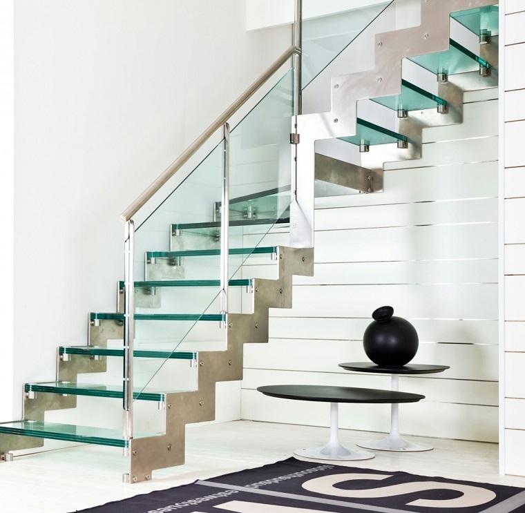 scale moderne per interni vetro temperato