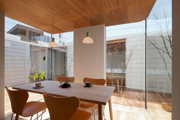 soffitto legno cucina moderna lampade sospensione